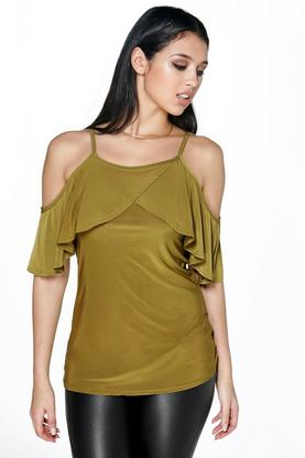 Willow Slinky Cold Shoulder Ruffle Top