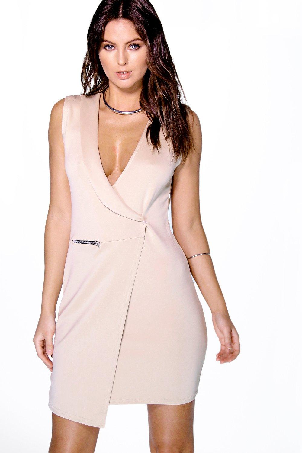 Jenn Tuxedo Style Wrap Bodycon Dress