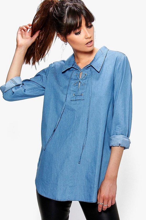 Emily Lace Up Front Denim Tunic