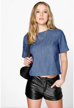 Leah Oversized Box Shape Denim Top