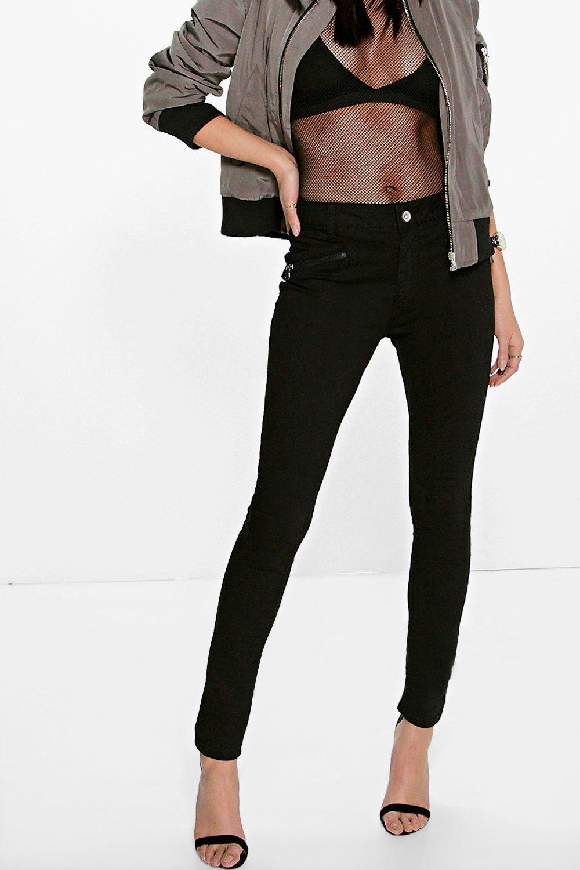 Mid Rise Zip Detail Skinny Jeans black