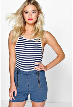 Reem High Waisted Zip Front Denim Shorts