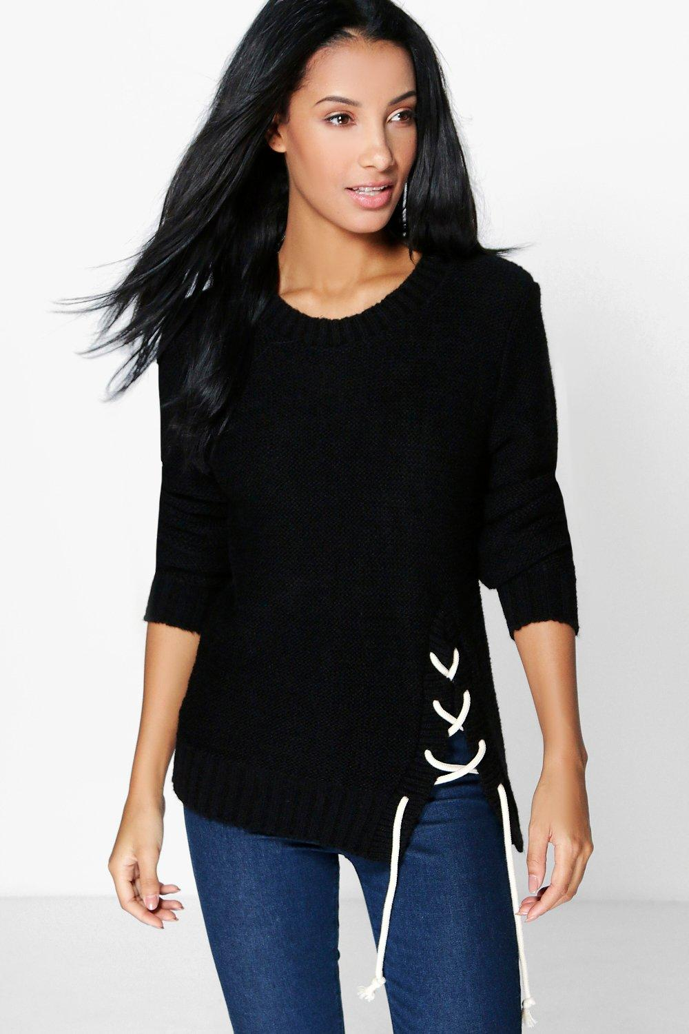 Paula Rope Lace Up Side Soft Knit Jumper