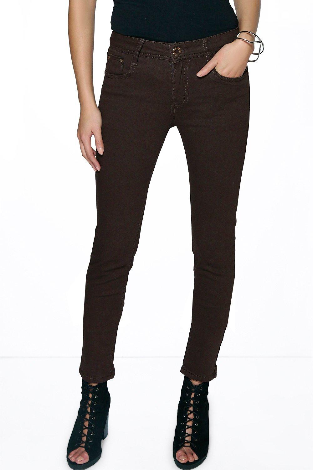 Mid Rise Skinny Jeans brown
