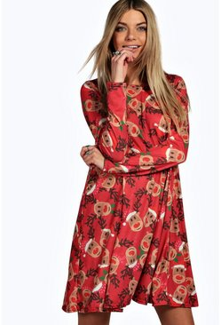 Alexis Reindeer Printed Swing Christmas Dress