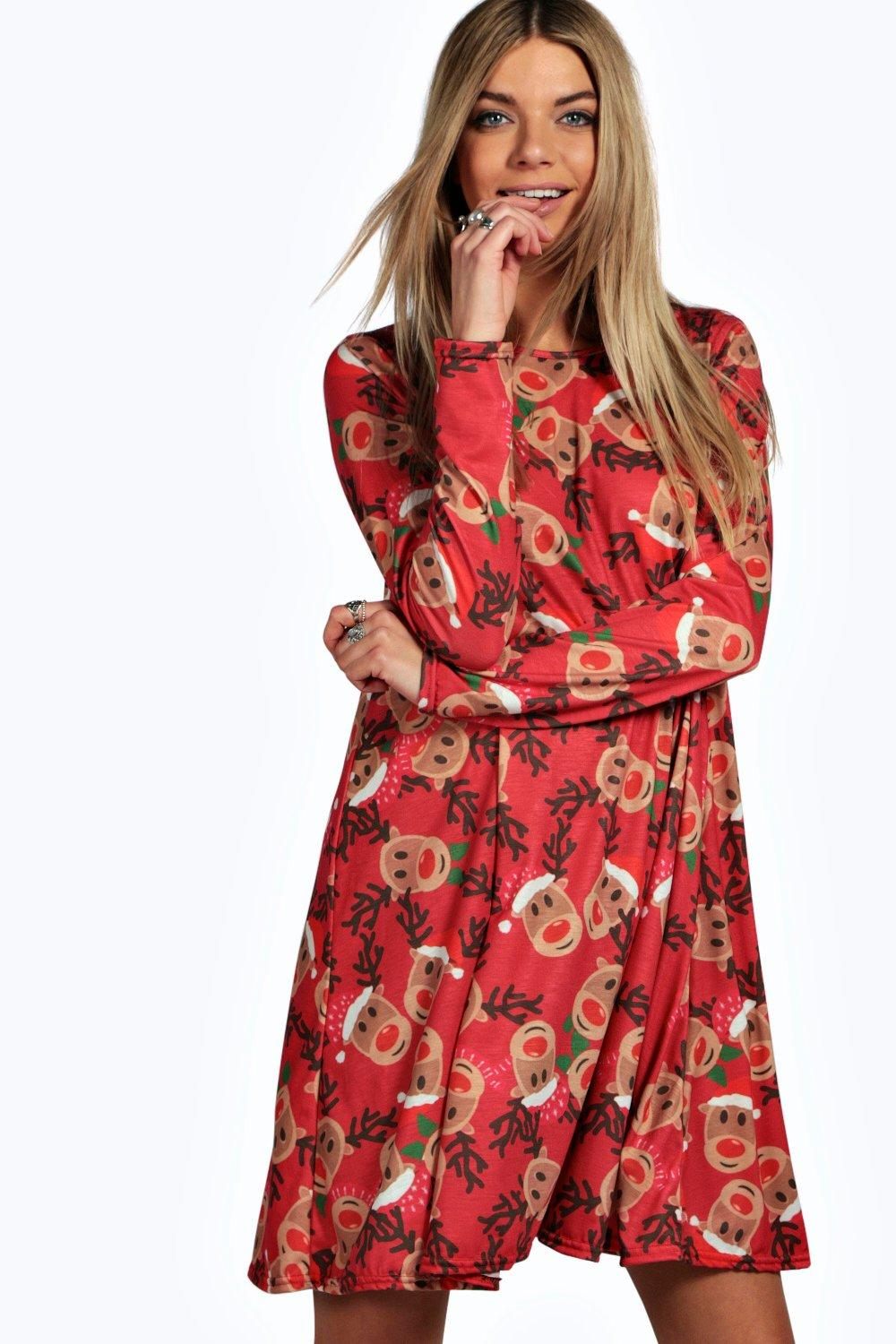 Alexis reindeer printed swing christmas dress at boohoo com