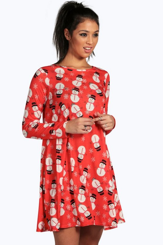Eve Printed Snowman Swing Christmas Dress