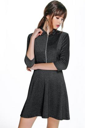 Bianca Textured Zip Collar Skater Dress