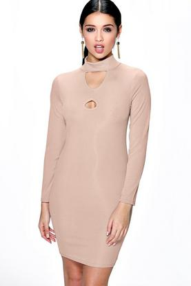 Sara Keyhole Long Sleeve Bodycon Dress