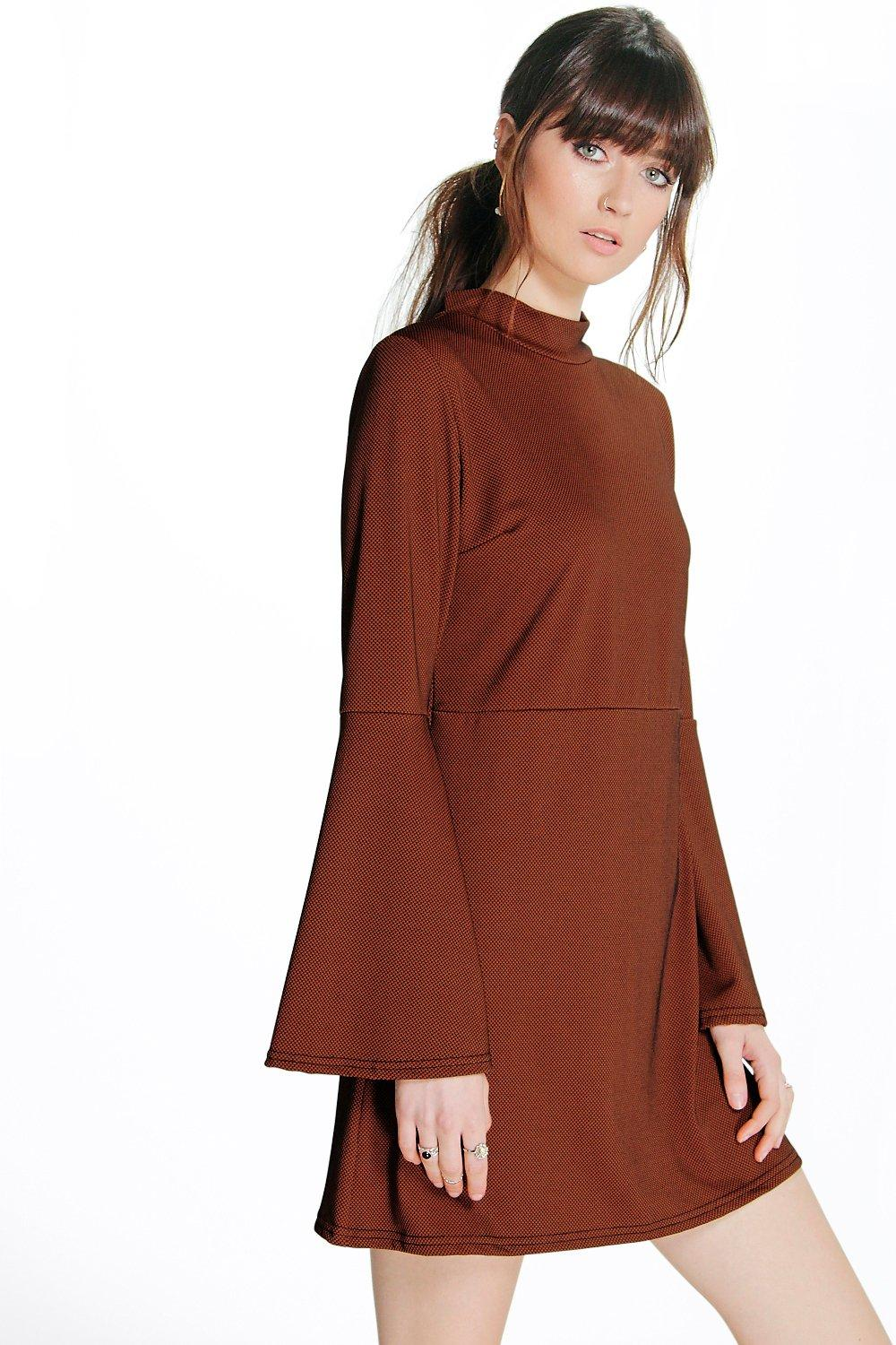 Ela Textured Split Sleeve High Neck Skater Dress