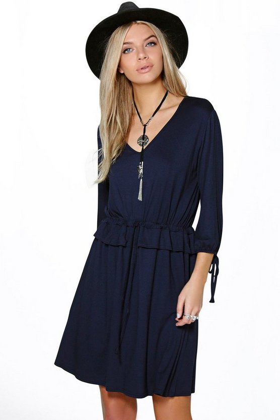 Morgana Tie Waist Ruffle Skater Dress
