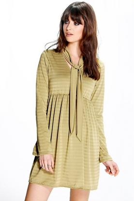 Carrie Shimmer Stripe Smock Tie Neck Dress
