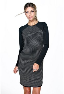 Alison Curved Hem Stripe Bodycon Dress