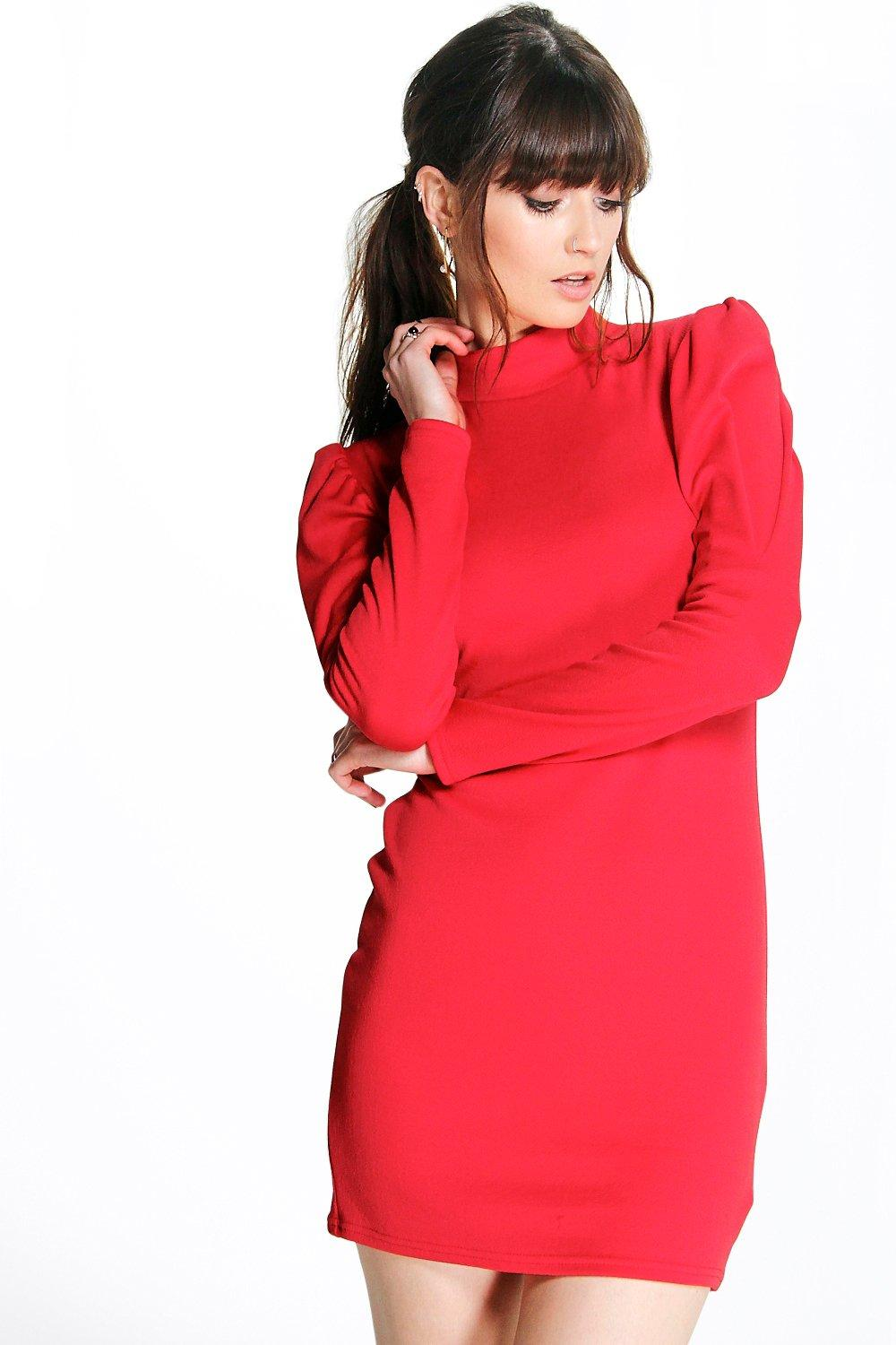 Sophie Puff Sleeve High Neck Bodycon Dress