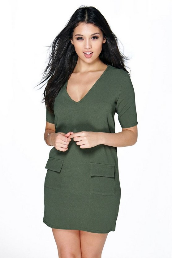 Arianna Plunge Front Pocket Shift Dress