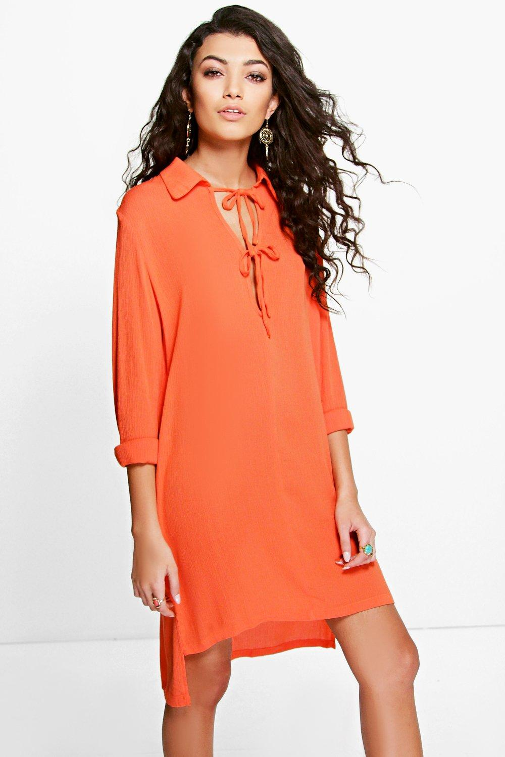 Keyhole Lace Up Dipped Hem Shirt Dress orange