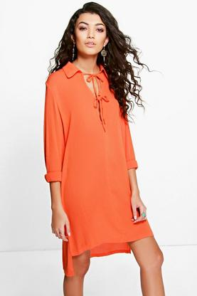 Allie Keyhole Lace Up Dipped Hem Shirt Dress