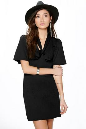 Hayley Textured Pussy Bow Shift Dress