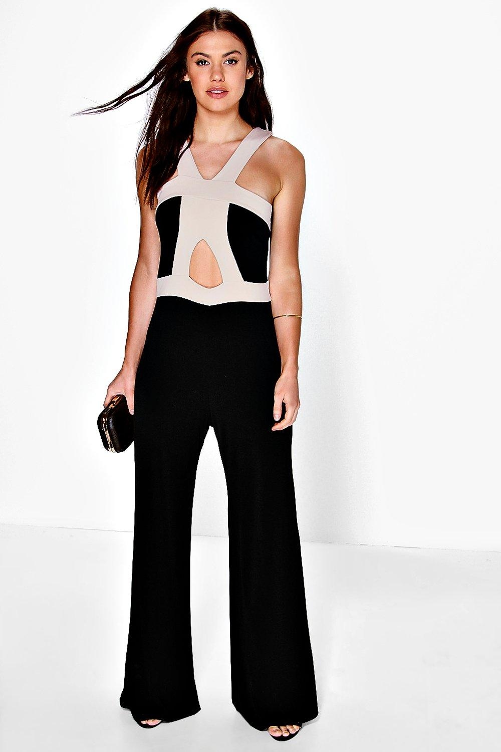Emma Contrast Caging Wide Leg Jumpsuit