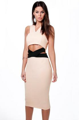 Ashley Contrast Cross Panel Midi Dress