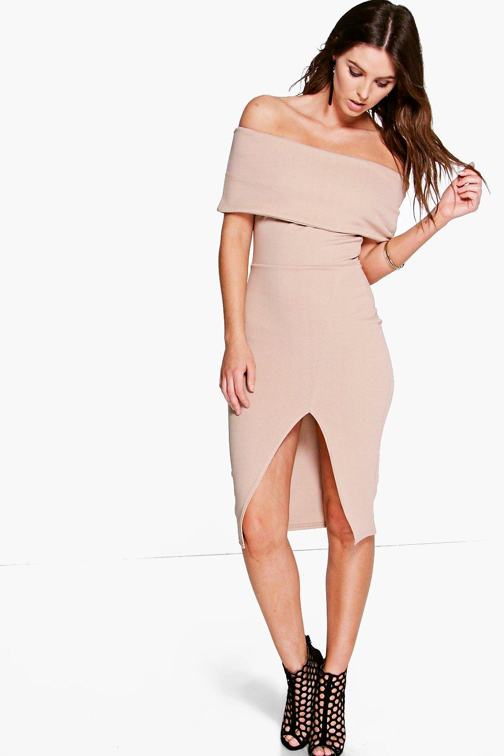 Asia Oversized Off The Shoulder Side Split Midi Dress