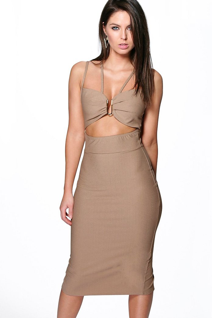 Audrey Strappy Trim Detail Midi Dress