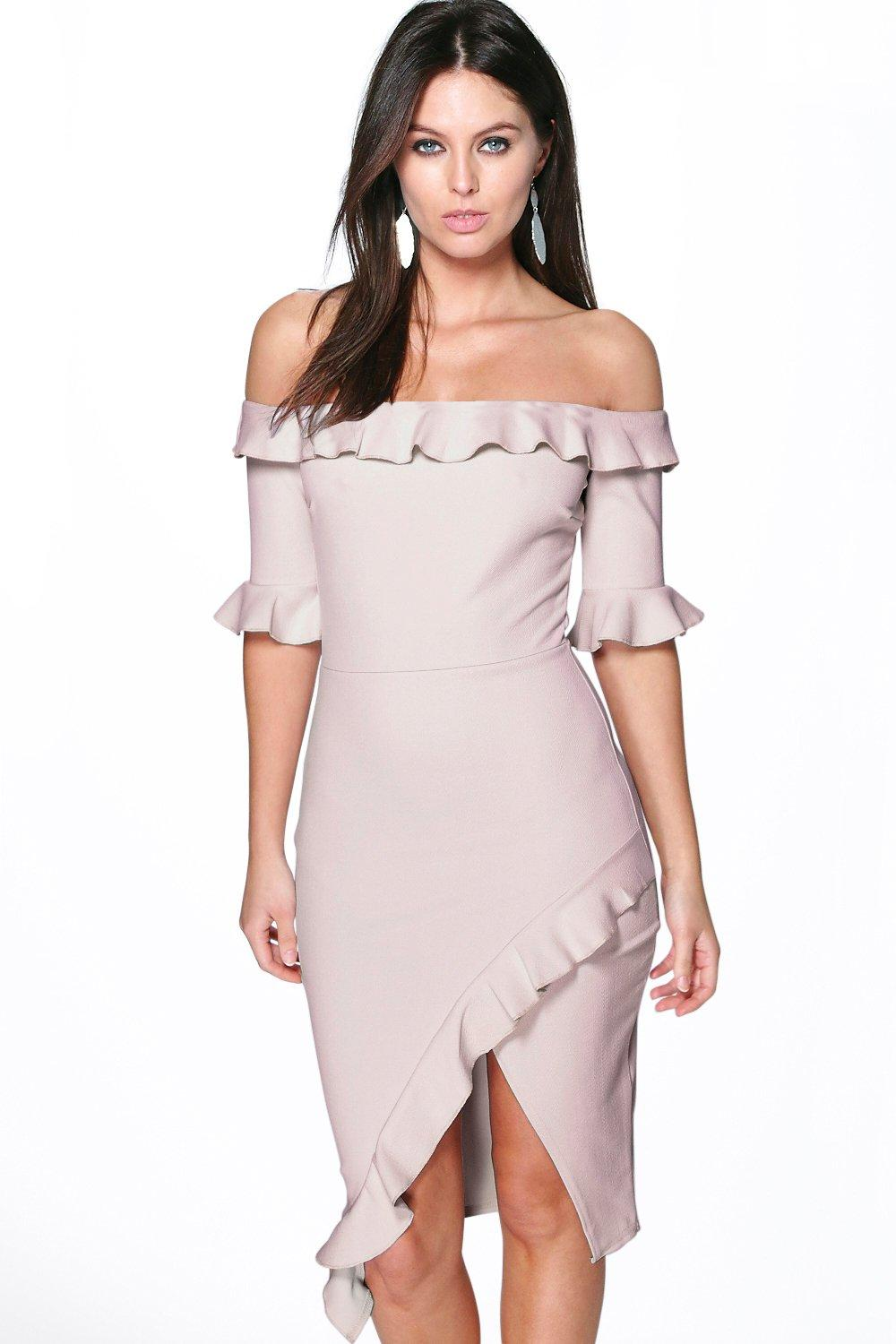 Callie Frill Off The Shoulder Wrap Midi Dress