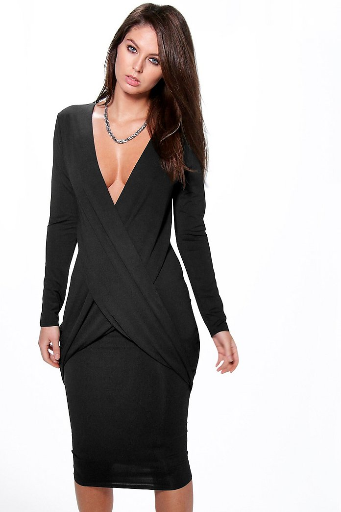 Clara Textured Drape Cross Over Midi Dress