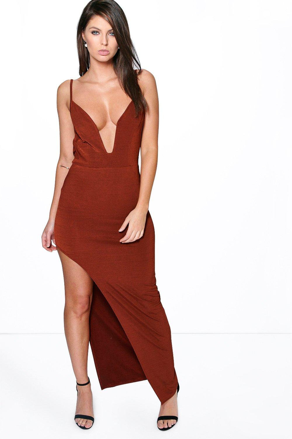 Cowl Back Asymmetric Hem Maxi Dress rust