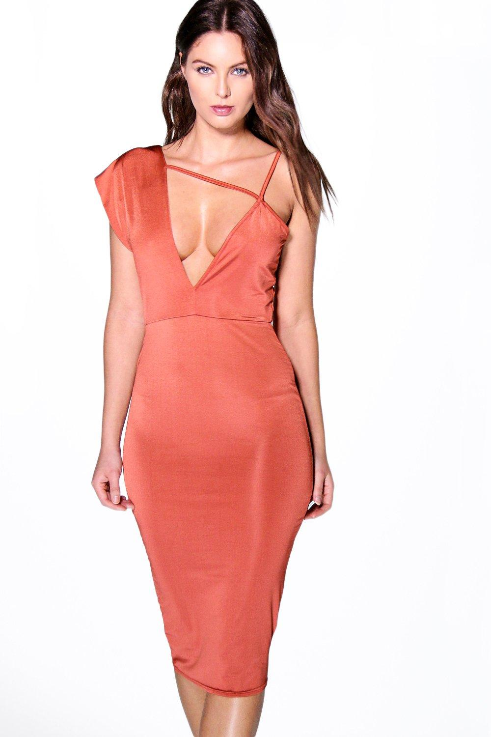 Edie Slinky Strappy Detail Bodycon Dress