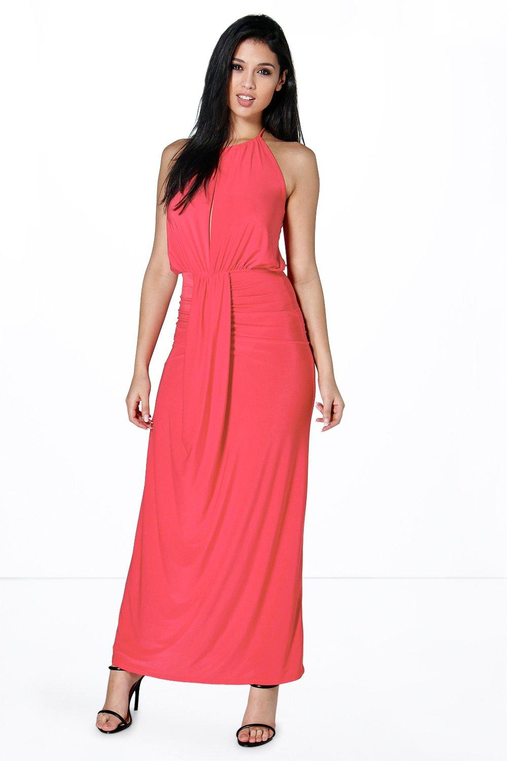 Maya Halterneck Keyhole Rouched Maxi Dress