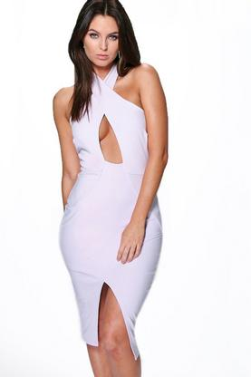 Ina Cross Front Asymmetric Hem Midi Dress
