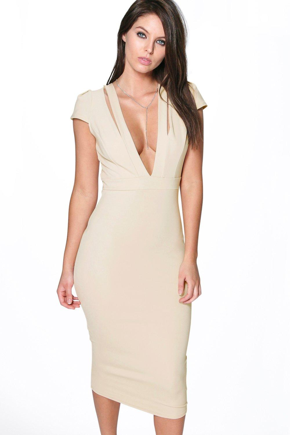 Holly Plunge Neck Cap Sleeve Midi Dress