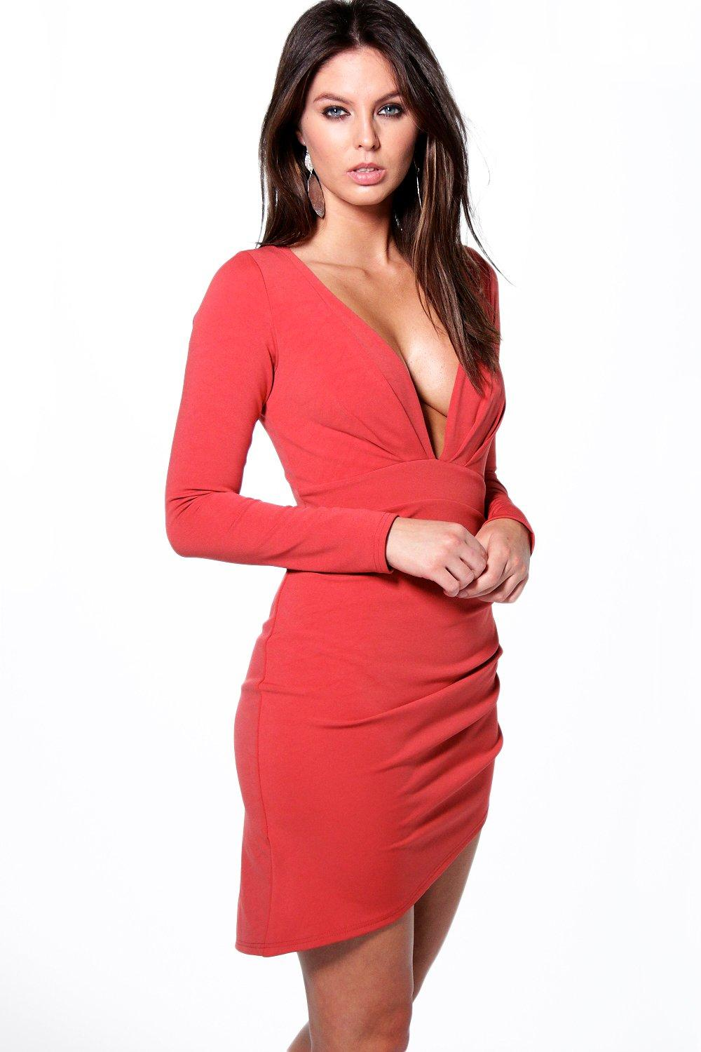 Kady Plunge Neck Wrap Skirt Bodycon Dress