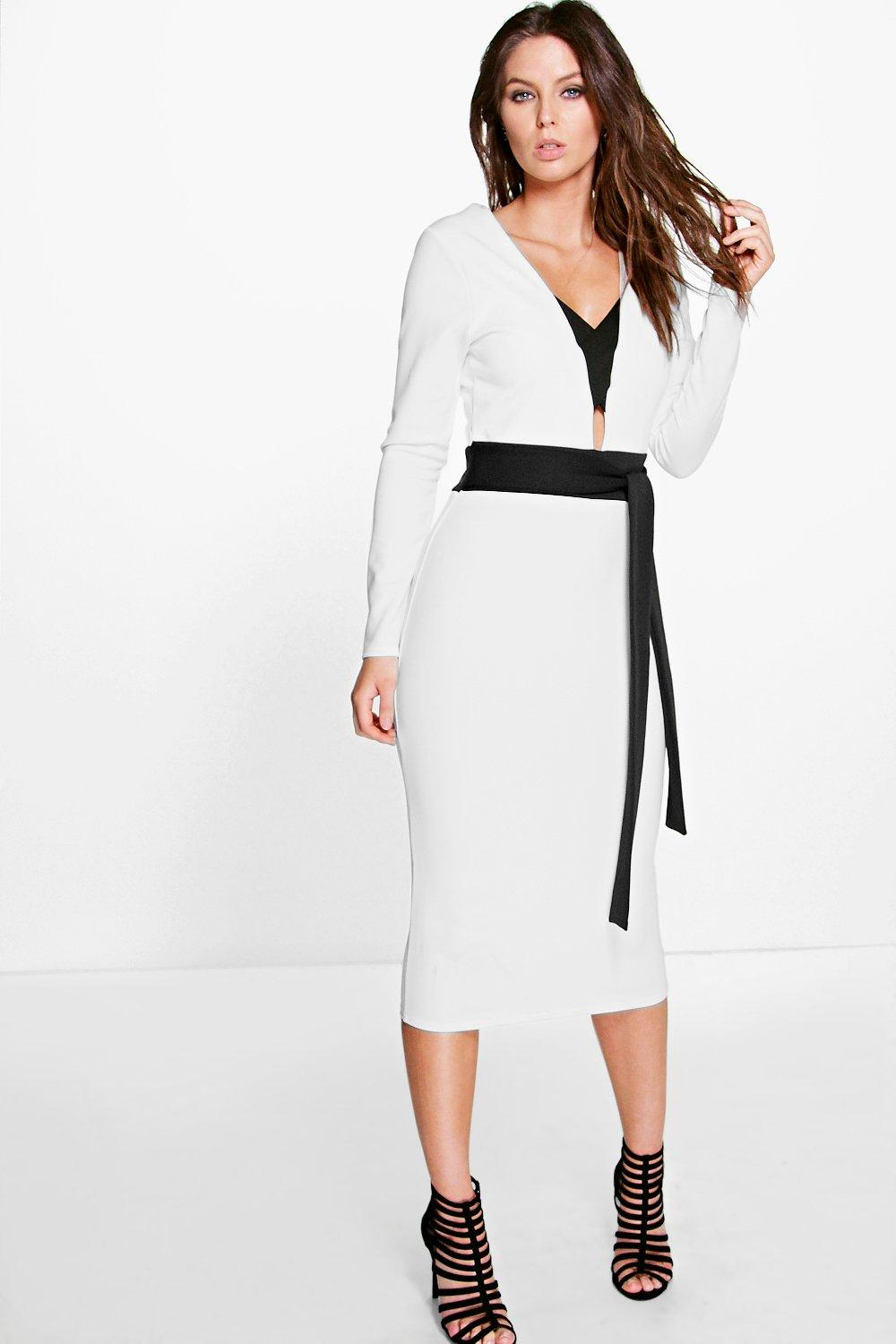 Andrea Contrast Strappy Obi Belt Midi Dress