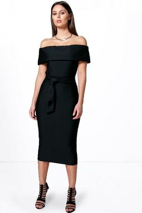 Alma Obi Belt Off The Shoulder Midaxi Dress