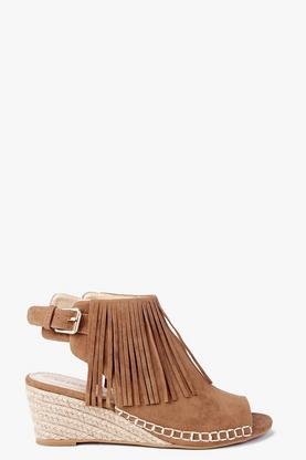 Emma Fringe Mule Demi Wedge