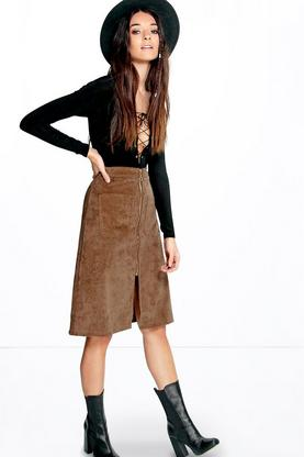 Anya Pocket Front Zip Detail Cord Midi Skirt