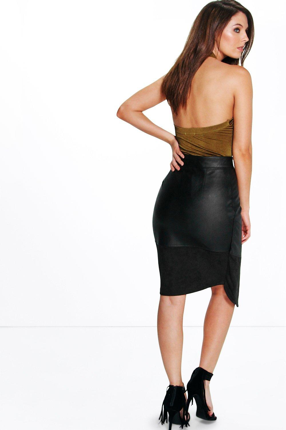 Ali Suedette And Leather Look Midi Skirt | Boohoo
