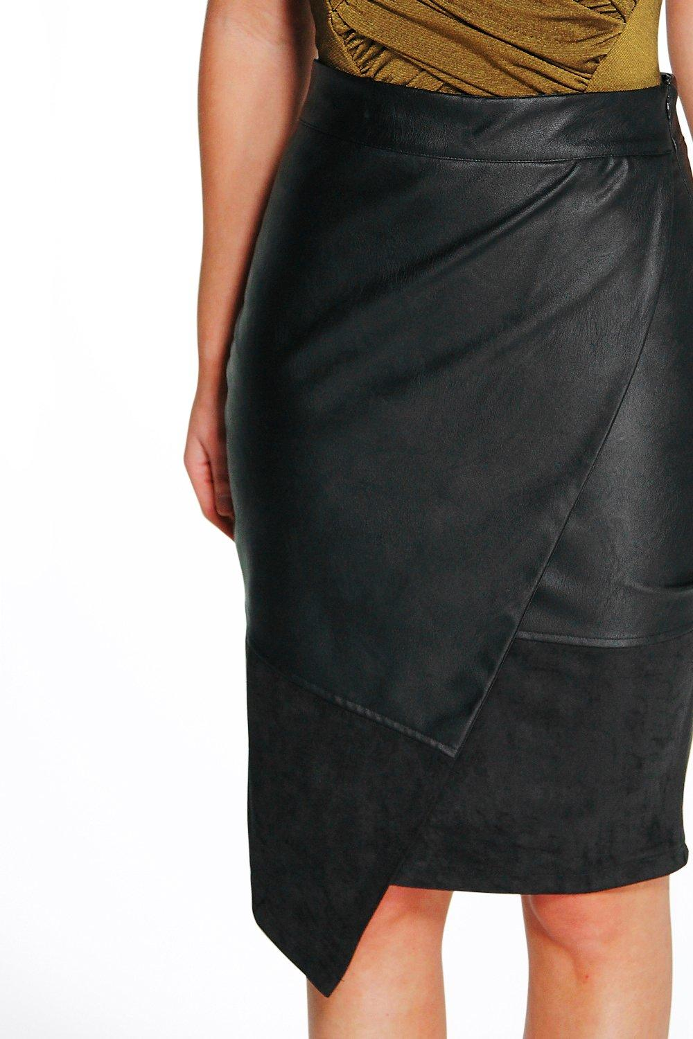 boohoo womens ali suedette and leather look midi skirt in