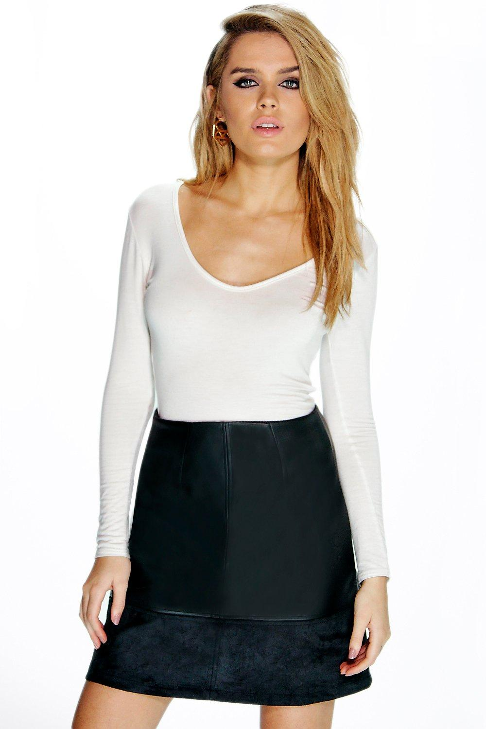 Suedette and Leather Look A Line Mini Skirt black