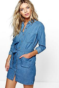 Katie Tie Waist Patch Pocket Denim Dress