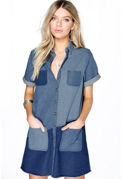 Molly Patchwork Oversize Denim Shirt Dress