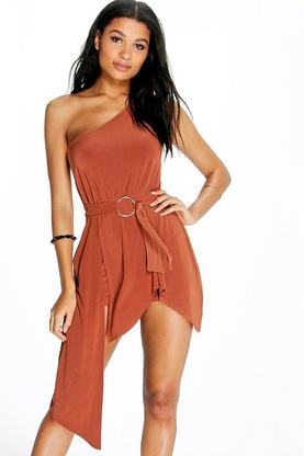 Eden One Shoulder Asymmetric Ring Detail Playsuit