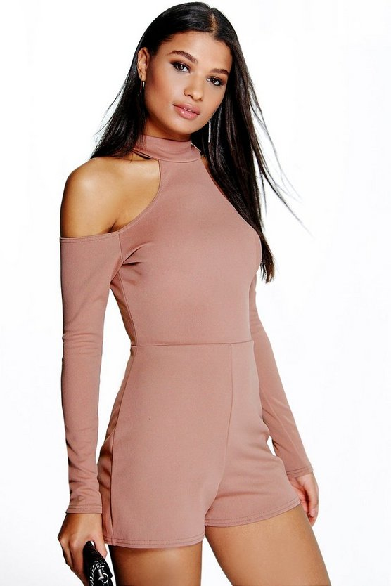 Anna Open Shoulder High Neck Playsuit