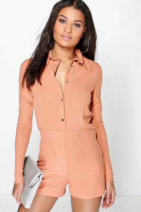 Alex Ribbed Shirt Style Playsuit