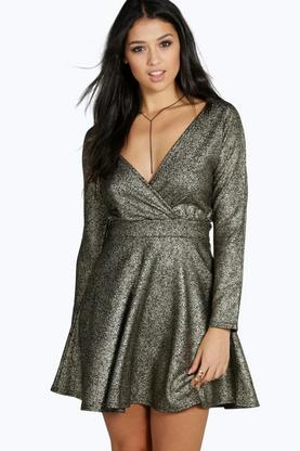 Clara Metallic Speckle A-line Skater Dress