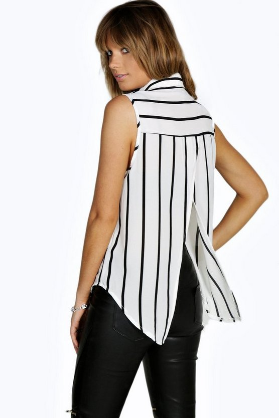 Sionan Striped Sleeveless Woven Shirt
