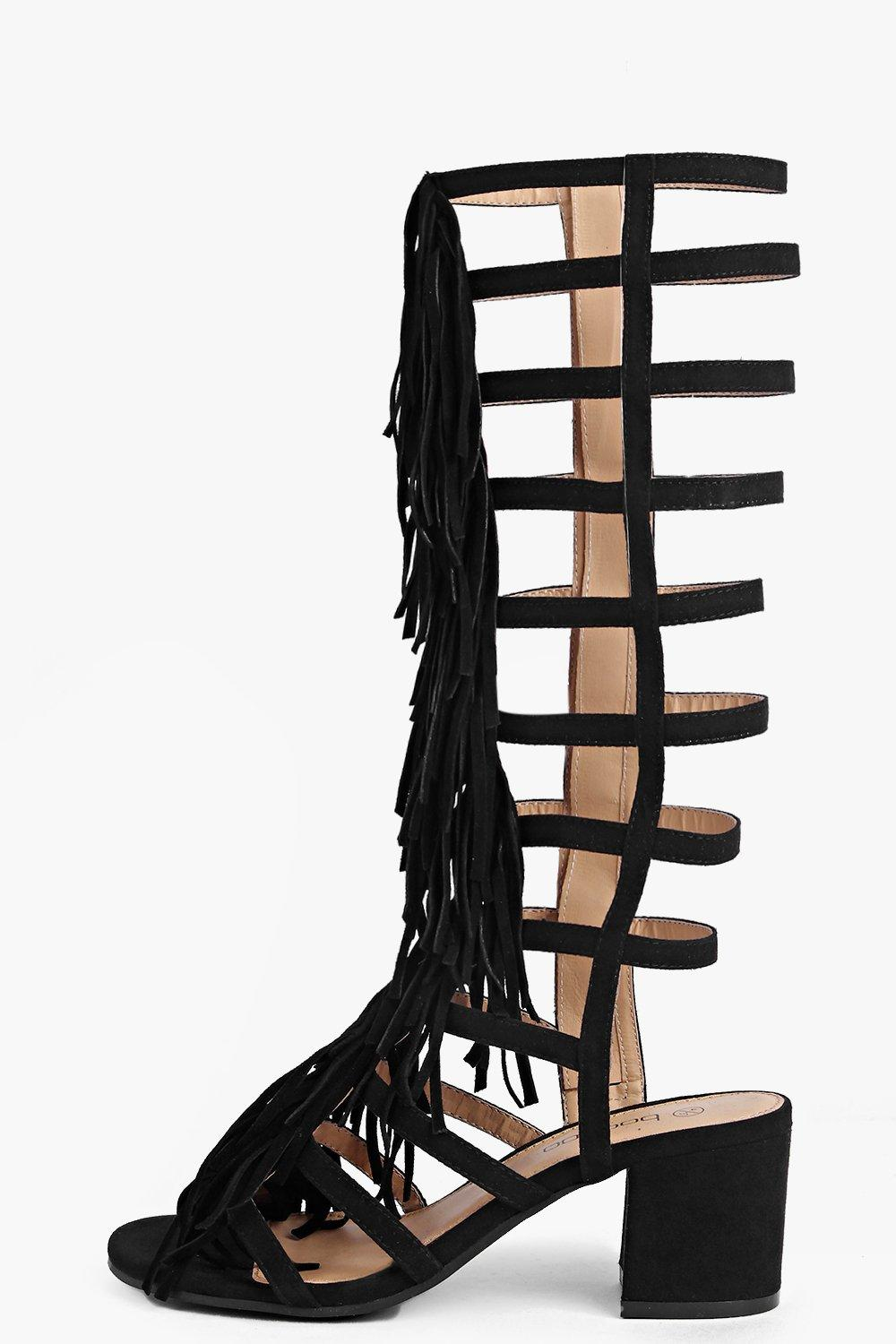 Anna Fringe Knee High Block Heel Sandal