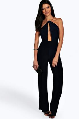Amy Necklace Detail Cut Front Skinny Jumpsuit